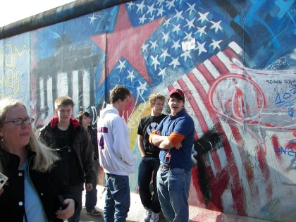 Minooka kids at the Berlin Wall during spri.ng break 2007