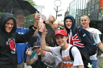 Minooka boys enjoying their first taste of a strange Japanese drink - it was delicious, by the way.