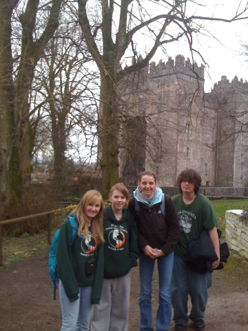 Minooka kids sporting are awesome TAP shirts in front of Bunratty Castle.