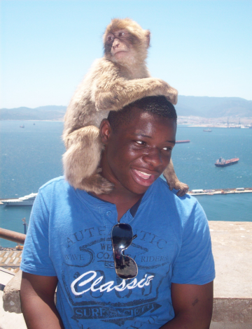 Josh made friends everywhere he went, even in Gibraltar.