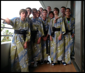 Minooka boys in traditional robes at the ryokan.