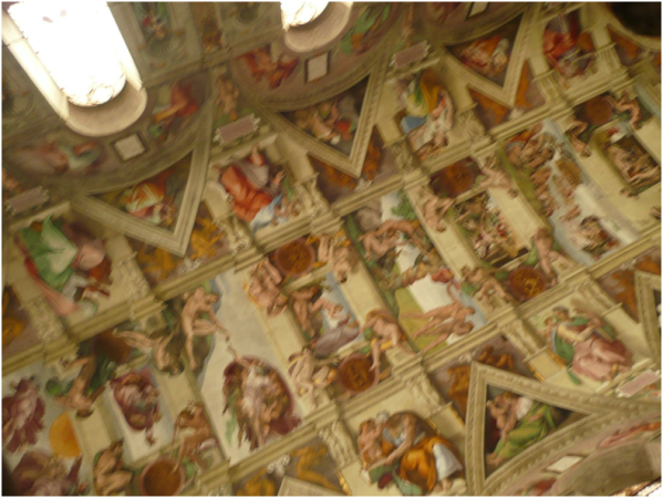 There's nothing like sneaking a photo when it is forbidden in one of the best known chapel in the Vatican City (that's why it's a bit blurry). This picture does not do the celling of the Sistine Chapel justice. Can you imagine Michelangelo  spending four years painting this work of art?  Sistine Chapel, Vatican City, Italy.