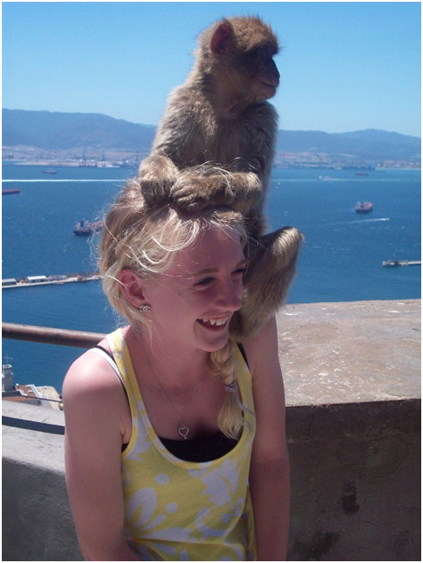 This photo was taken on TAP's Spain/Portugal trip; however, this picture was taken in Gibraltar. I think this took all TAP  travelers by surprise – this doesn't even happen at the zoo! Needless to say this trip had a ton of bizarre experiences! Rock of Gibraltar, Gibraltar.