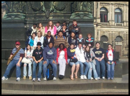 The first group of TAP students outside Semper Opera House in Dresden, Germany.