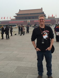 Mr. Curtis in Tienanmen Square in November 2013.  Look in the background for a yellow/silver bus - that's about where Tank Man stood his ground.