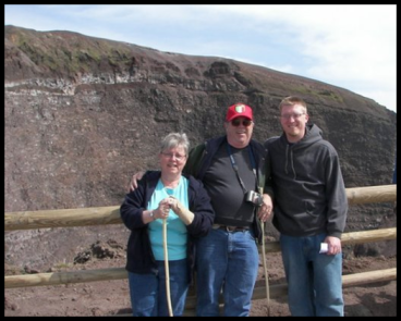 Mr. Curtis and his parents at the top of Mt. Vesuvius.