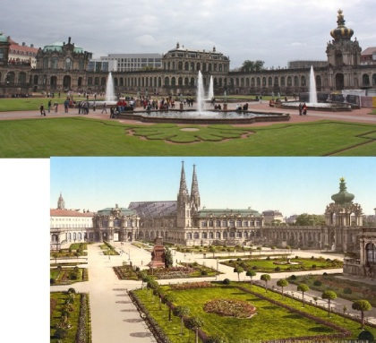 Top: Zwinger Palace today. Bottom: Zwinger Palace in the early 1900s.   Missing: Zwinger Palace in the spring of 1945, because it was gone.