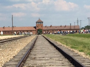 The tracks leading up to Auschwitz's main building.