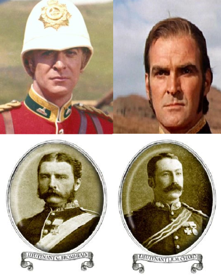 Actors Michael Cain and Stanley Baker on top, with the real Lt. Bromhead and Lt. Chard on the bottom.  As we said, there were some historical inaccuracies in the movie, and the lack of awesome moustaches is the least forgivable change.