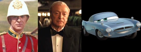 The many faces of Michael Cain.  Lt. Bromhead in Zulu, Alfred in The Dark Knight, and Finn McMissile in Cars 2.