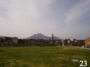 What's left of Pompeii, Italy, with Mt. Vesuvius looming in the background.