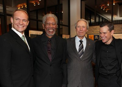Francois Pienaar, Morgan Freeman, Clint Eastwood, and itty-bitty Matt Damon.