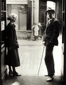 Shop owner Sylvia Beach and writer James Joyce in the doorway of the original Shakespeare and Co. bookstore in Paris.