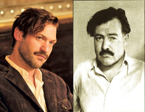 Corey Stoll in Midnight in Paris alongside the real Papa Hemingway.