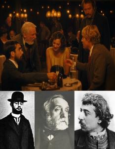 Near the end of the movie, Gil meets Vincent Menjou Cortes as Henri de Toulouse-Lautrec,  François Rostain as  Edgar Degas, and   Olivier Rabourdin as   Paul Gauguin.