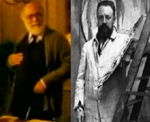 Apparently Henry Matisse is blurry in real life and in film. On the left is actor Yves-Antoine Spoto, on the right the real Matisse.