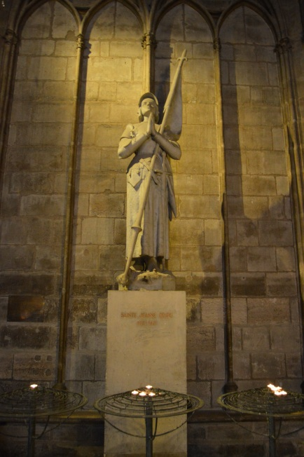This statue of Joan of Arc is on display in the Notre Dame Cathedral in Paris, France.  If you decide to visit the inside of the cathedral while we're in Paris, you'll surely see it.
